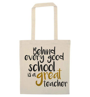 Behind every good school is a great teacher natural tote bag