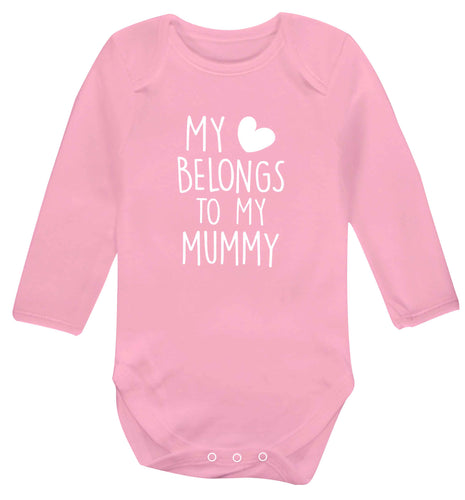My heart belongs to my mummy baby vest long sleeved pale pink 6-12 months