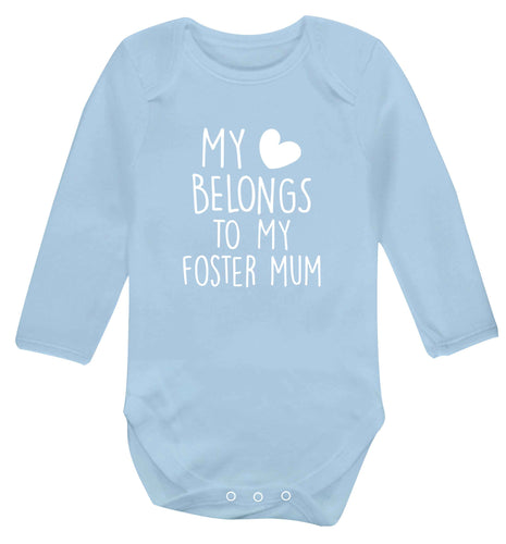 My heart belongs to my foster mum baby vest long sleeved pale blue 6-12 months