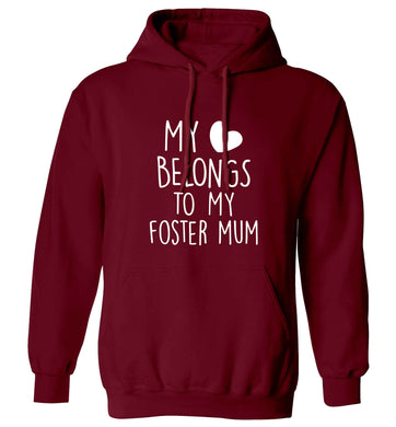 My heart belongs to my foster mum adults unisex maroon hoodie 2XL