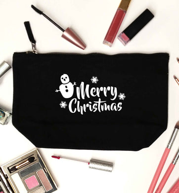 Merry Christmas - snowman black makeup bag