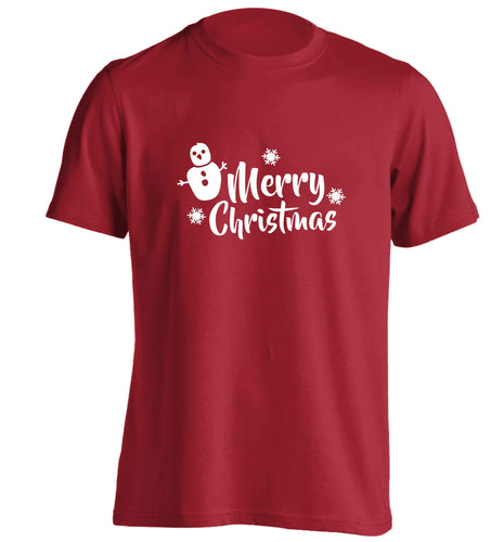 Merry Christmas - snowman adults unisex red Tshirt 2XL