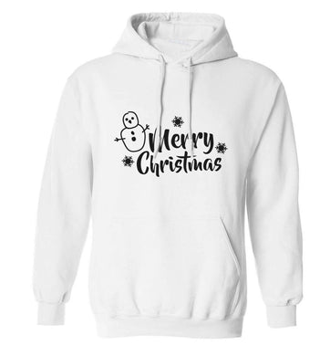 Merry Christmas - snowman adults unisex white hoodie 2XL