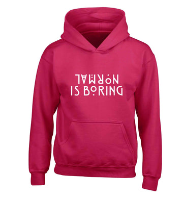 Normal is boring children's pink hoodie 12-13 Years