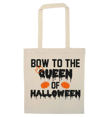 Bow to the Queen of halloween natural tote bag