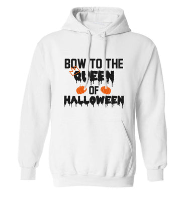 Bow to the Queen of halloween adults unisex white hoodie 2XL