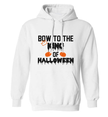 Bow to the King of halloween adults unisex white hoodie 2XL