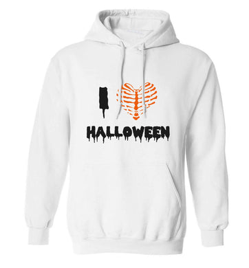 I love halloween adults unisex white hoodie 2XL