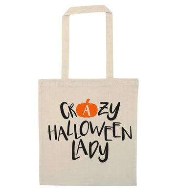 Crazy halloween lady natural tote bag