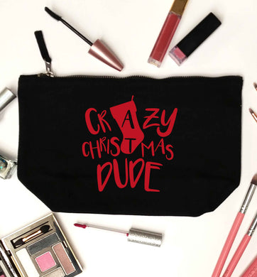 Crazy Christmas Dude black makeup bag