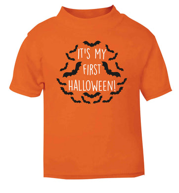 It's my first halloween - bat border orange baby toddler Tshirt 2 Years