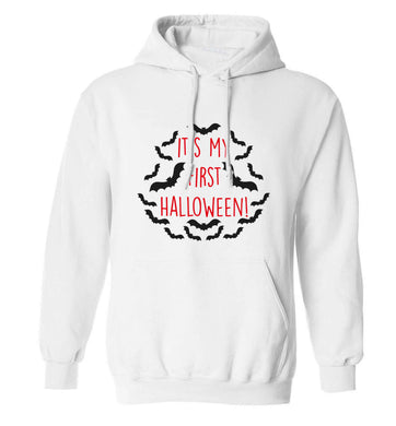 It's my first halloween - bat border adults unisex white hoodie 2XL