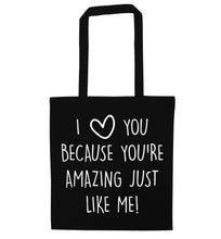 Girlfriend I love you to the moon and back black tote bag