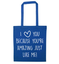 Girlfriend I love you to the moon and back blue tote bag