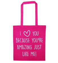 Girlfriend I love you to the moon and back pink tote bag