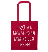 Girlfriend I love you to the moon and back red tote bag