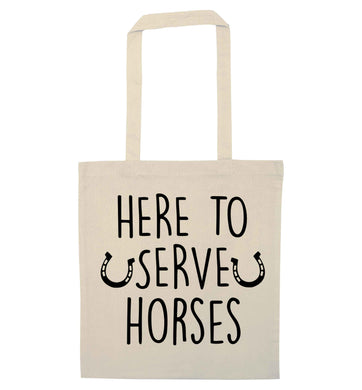 Here to serve horses natural tote bag