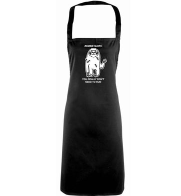 Zombie sloth you really don't need to run adults black apron