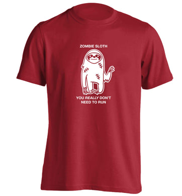 Zombie sloth you really don't need to run adults unisex red Tshirt 2XL