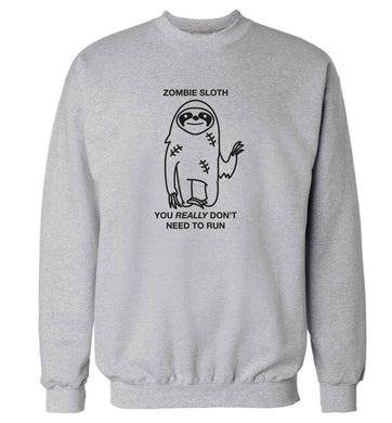 Zombie sloth you really don't need to run adult's unisex grey sweater 2XL