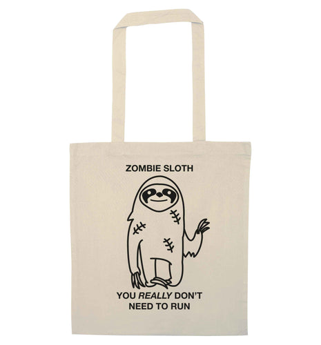 Zombie sloth you really don't need to run natural tote bag