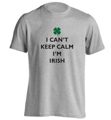I can't keep calm I'm Irish adults unisex grey Tshirt 2XL
