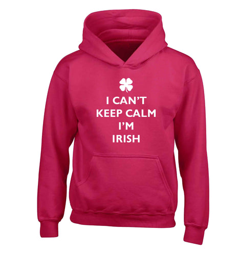 I can't keep calm I'm Irish children's pink hoodie 12-13 Years