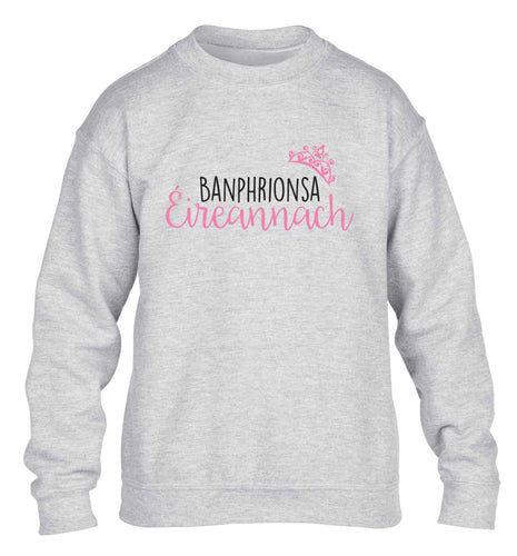 Banphrionsa eireannach children's grey sweater 12-13 Years