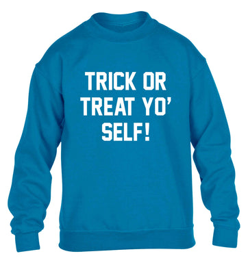 Trick or Treat Yo' Self children's blue sweater 12-13 Years
