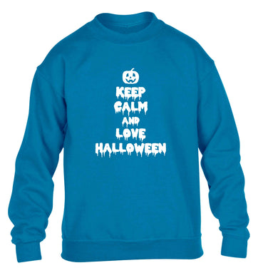 Keep calm and love halloween children's blue sweater 12-13 Years