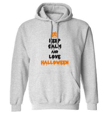 Keep calm and love halloween adults unisex grey hoodie 2XL