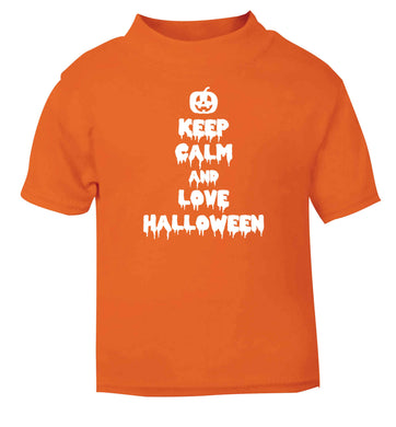Keep calm and love halloween orange baby toddler Tshirt 2 Years