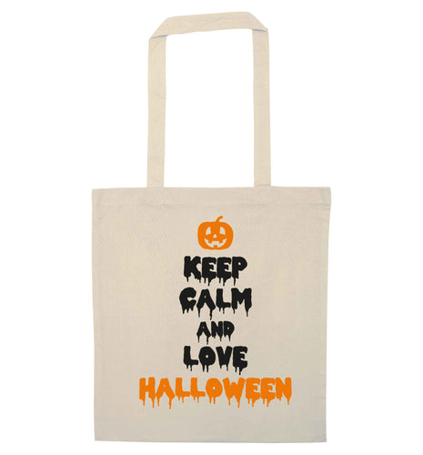 Keep calm and love halloween natural tote bag
