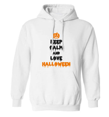 Keep calm and love halloween adults unisex white hoodie 2XL