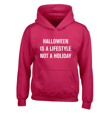 Halloween is a lifestyle not a holiday children's pink hoodie 12-13 Years