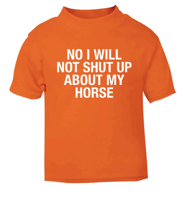 Warning may start talking about horses orange baby toddler Tshirt 2 Years
