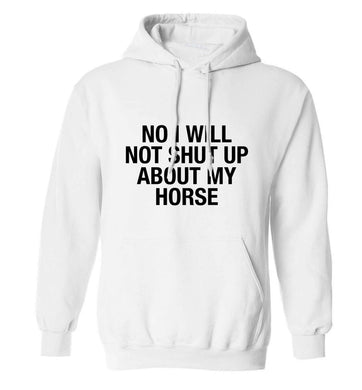 Warning may start talking about horses adults unisex white hoodie 2XL