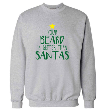 Your Beard Better than Santas adult's unisex grey sweater 2XL