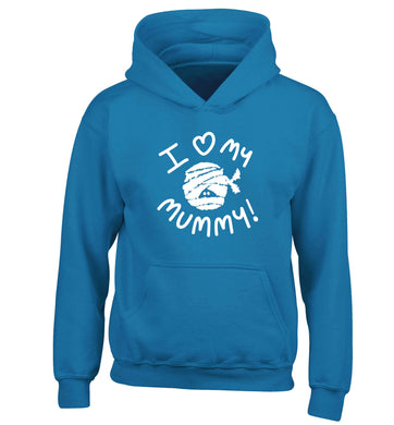 I love my mummy halloween pun children's blue hoodie 12-13 Years