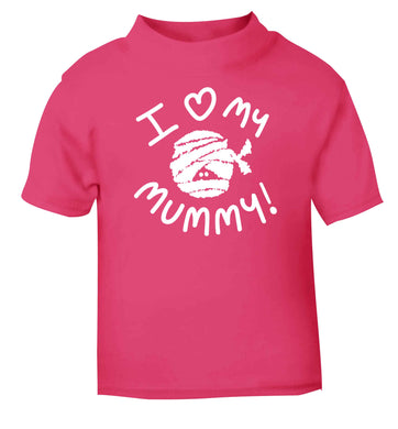 I love my mummy halloween pun pink baby toddler Tshirt 2 Years