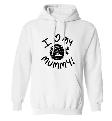 I love my mummy halloween pun adults unisex white hoodie 2XL