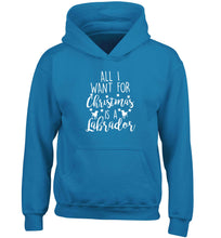 All I want for Christmas is a labrador children's blue hoodie 12-13 Years