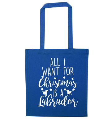 All I want for Christmas is a labrador blue tote bag