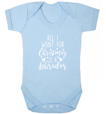 All I want for Christmas is a labrador baby vest pale blue 18-24 months