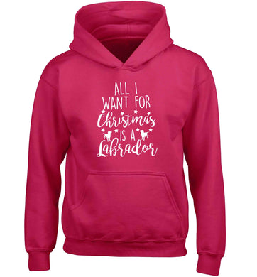 All I want for Christmas is a labrador children's pink hoodie 12-13 Years