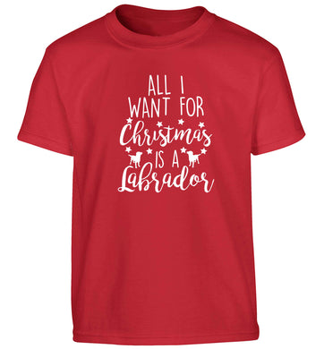 All I want for Christmas is a labrador Children's red Tshirt 12-13 Years