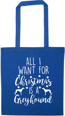 All I want for Christmas is a greyhound blue tote bag