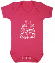 All I want for Christmas is a greyhound baby vest dark pink 18-24 months