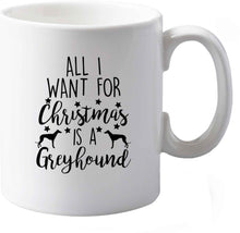 10 oz All I want for Christmas is a greyhound ceramic mug both sides