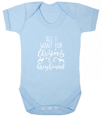 All I want for Christmas is a greyhound baby vest pale blue 18-24 months